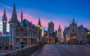 Обои закат, evening, houses, небо, фонари, улица, Belgium, Бельгия, Гент, street