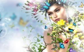Картинка цветы, весна, девушка, бабочки, арт