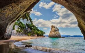 Картинка море, пляж, пещера