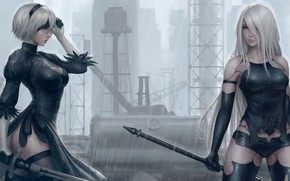 Картинка sword, game, ass, robot, rain, long hair, mecha, weapon, boobs, big, breast, katana, ken, Nier, …
