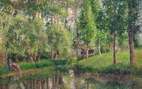Картинка пейзаж, картина, Камиль Писсарро, Место Стирки в Базэнкуре