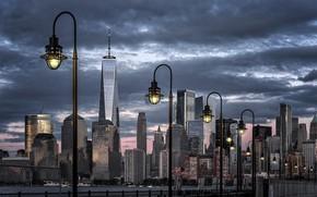 Обои Нью-Йорк, фонари, New York City, Liberty Park