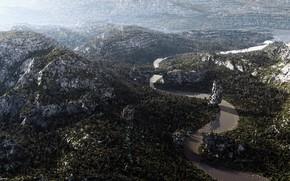 Картинка лес, горы, река, Arial Views
