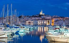 Картинка небо, Франция, пристань, дома, яхты, лодки, вечер, Марсель