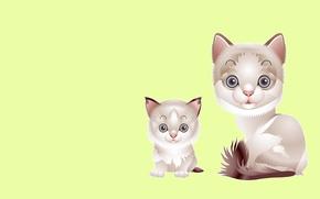 Обои котёнок, арт, малыш, мама, вектор, детская, кошка