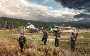 Обои арт, Far Cry 5, ферма, солдаты