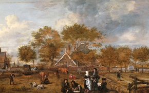 Картинка пейзаж, дерево, масло, картина, Jan Pietersz Opperdoes, Крестьянская Усадьба