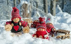 Картинка зима, снег, природа, праздник, игрушки, новый год