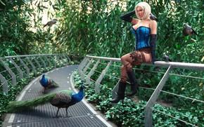 Картинка девушка, мост, птица, Jardin bleu