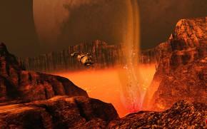 Картинка горы, планета, лава, аппарат, Lava Survey on Nix