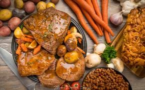 Картинка мясо, морковь, чеснок, картофель