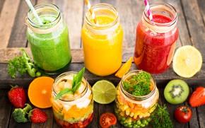 Картинка свет, апельсин, киви, клубника, сок, банки, напиток, фрукты, помидор, смузи