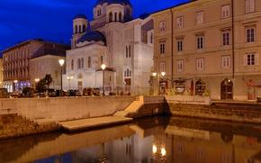 Картинка ночь, Италия, собор, Триест