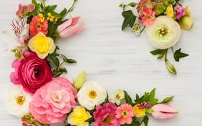Картинка цветы, wood, pink, flowers, beautiful, композиция, frame, floral