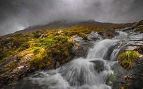 Картинка облака, горы, туман, река, ручей, поток, Уэльс, Сноудония