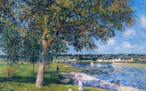 Картинка пейзаж, река, картина, Alfred Sisley, Альфред Сислей, Ореховое Дерево в Томри