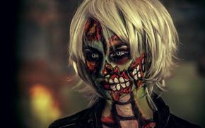 Картинка make-up, Woman, zombie