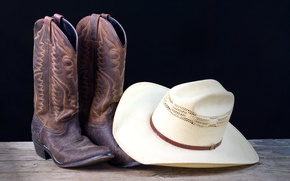 Картинка white, hat, leather, cowboy, Boots
