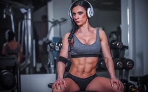 Картинка music, Female, pose, workout, fitness, bodybuilder