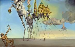 Картинка сюрреализм, картина, Сальвадор Дали, Salvador Dali, Искушение Святого Антония