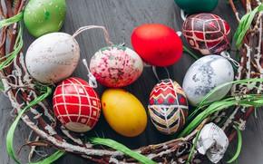 Картинка яйца, пасха, Праздник, венок, веточки, Easter, eggs, Holiday, wreath, twigs