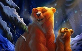 Обои зима, лес, ночь, медведь, медвеженок, by TehChan