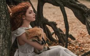 Картинка девушка, ветер, лиса, кудри, Елизавета Васина, Лис Адисей