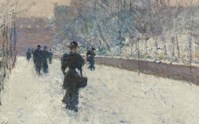 Картинка люди, картина, городской пейзаж, Frederick Childe Hassam, Чайльд Гассам, Променад. Зима в Нью-Йорке