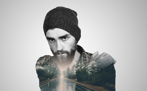Картинка дорога, лес, взгляд, природа, минимализм, мужчина, борода