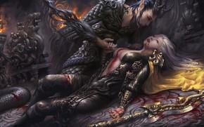 Картинка девушка, оружие, эльф, меч, воин, арт, фЭнтези, Parting, Carter adair