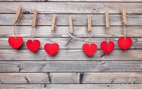 Картинка любовь, романтика, веревка, ключ, сердечки, love, heart, wood, прищепки, key, romantic, валентинки