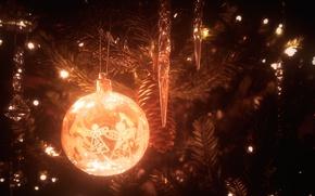 Картинка свет, украшения, игрушки, елка, новый год, шар