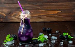 Обои ягода, трубочка, ежевика, лёд, вода, листья, напиток, бутылка