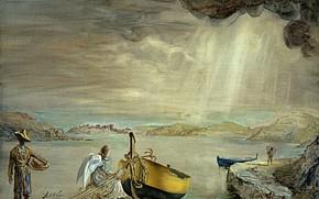 Обои сюрреализм, картина, лодка, Сальвадор Дали, Salvador Dali, Ангел Порт-Льигата