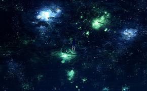 Картинка вода, девушка, ночь, Y_Y