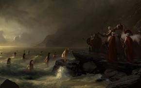 Картинка море, девушка, облака, воин, Берег, солдат