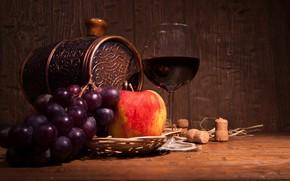 Картинка вино, бокал, яблоко, виноград, пробки, бочонок
