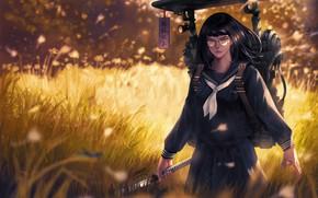 Картинка взгляд, девушка, меч