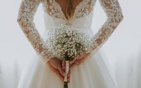 Картинка девушка, цветы, спина, букет, невеста