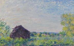 Картинка картина, Alfred Sisley, Альфред Сислей, Пейзаж с Дровами
