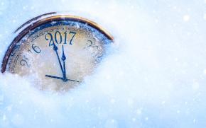 Картинка снег, стрелки, часы, цифра, год, 2017