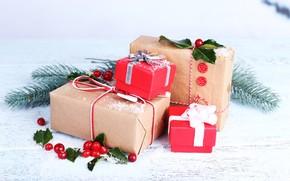 Картинка снег, украшения, ягоды, Новый Год, Рождество, подарки, happy, Christmas, vintage, wood, New Year, Merry Christmas, …