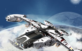 Картинка космос, транспорт, планета, летательный аппарат, Jet Fly