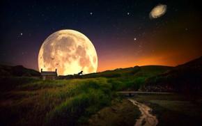 Обои пейзаж, звезды, силуэт, ночь, дом, коллаж, галактика, Луна