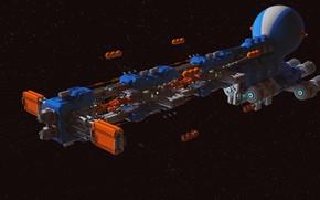 Картинка транспорт, звёзды, космический корабль, Long Ears Cargo Ship