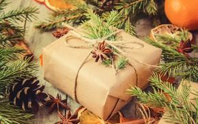 Картинка праздник, подарок, новый год, ель, шишки, гвоздика