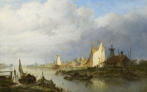 Картинка пейзаж, дерево, масло, картина, Корабли на Реке Около Маяка, Hendrik Vettewinkel