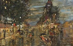 Картинка улица, картина, городской пейзаж, Константин Коровин, Париж Ночью