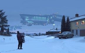 Картинка снег, здание, автомобиль, december 1994