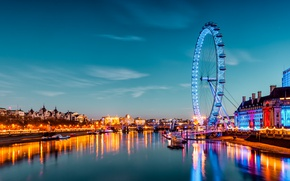 Картинка вода, город, огни, река, Англия, Лондон, здания, корабли, вечер, колесо, аттракцион